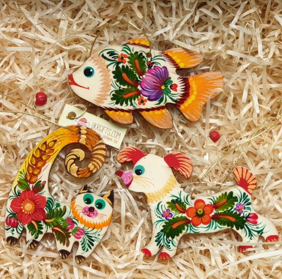 Rustic wooden Christmas tree ornaments set (cat, fish, dog) hand painting