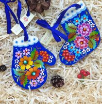 Hand painted wooden Christmas tree ornaments, set (mitten and christmas stocking)
