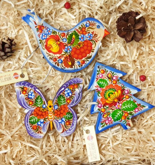 Wooden Christmas ornaments, set (Bird, Butterfly and Christmas tree) with hand painting