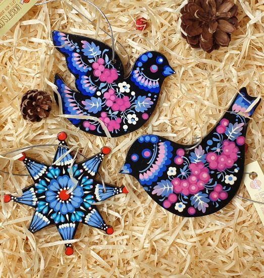 Wooden Christmas bird ornaments, set (birds, christmas star) hand painted