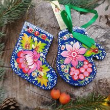 Hochwertiger Weihnachtsschmuck -Stiefel und Fäustling mit Blumenmuster