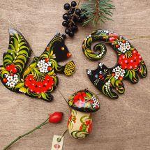 Eichhörnchen, Katze, Pilz - Holzschmuck für Weihnachten - Ukrainische Malerei