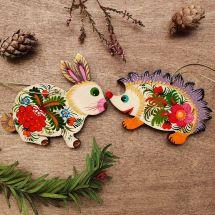 Igel und Hase - Weihnachtsdeko aus Holz -Waldtiere