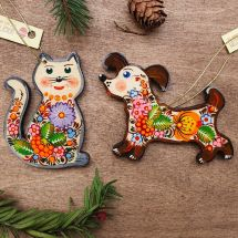 Christmas tree ornaments -cat and dog -hand painted wooden decorations