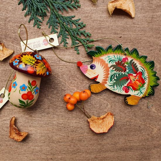 Christmas animal ornaments -Hegehog and mushroom