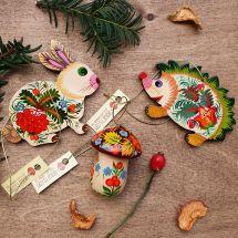 Igel, Hase und Pilz- Weihnachtsbaumschmuck aus Holz -Waldtiere