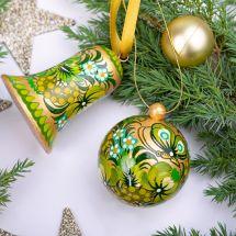 Weihnachtsbaumschmuck nostalgisch - Set, Baumkugel und Glöckchen, Grün-Gold