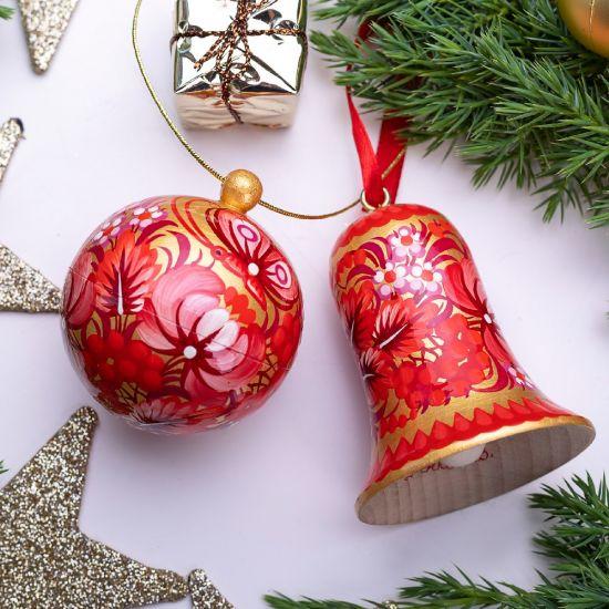 Exklusiver Christbaumschmuck - Set, Weihnachtskugel und Glöckchen, Rot-Gold