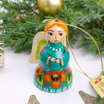 Christmas angel decoration and bell handmade of wood