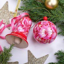 Handbemalter Christbaumschmuck - Set, Weihnachtskugel und Glöckchen, Rosa