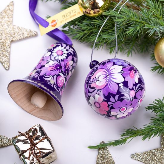 Special Christmas decoration set, Christmas tree ball and bell, purple