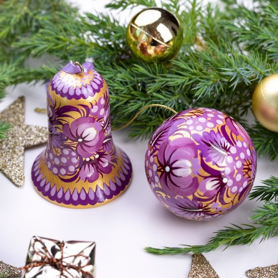 Unique Christmas decorations - set, tree ball and bell, purple-gold