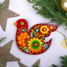 Red bird Christmas ornaments traditional painted