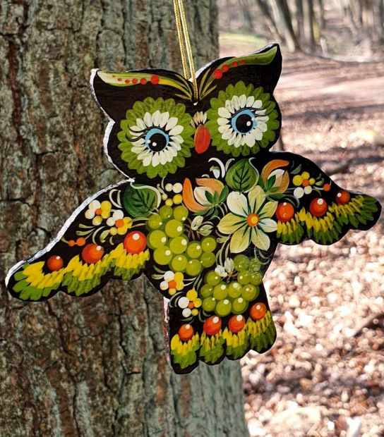 Ukrainian ethnic christmas ornament Owl,  gift idea for owl lovers, ukrainian art