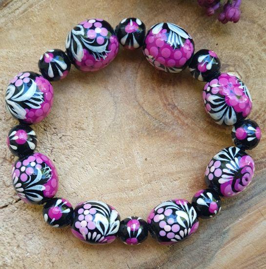 Wooden beaded bracelet with -black and pink, ukrainian folk wooden jewelry
