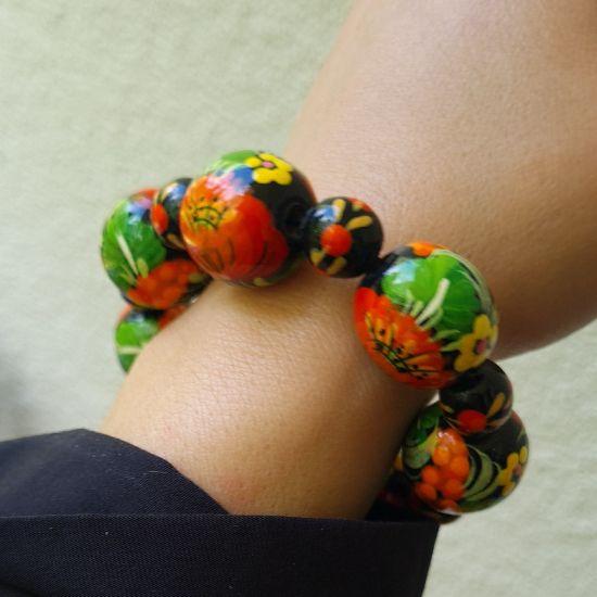 Wooden beaded bracelet, ukrainian folk style