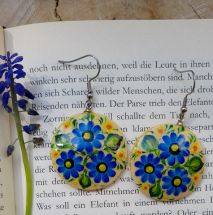 Round wooden Earrings with blue flowers design, hand painted Folk fashion ukrainian style