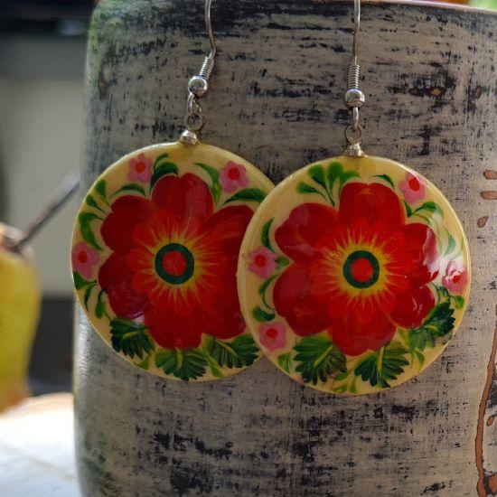 Round wooden Earrings, hand painted Folk fashion ukrainian style