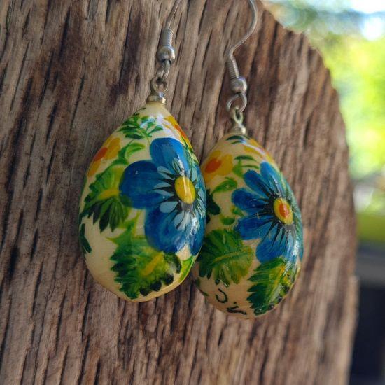 Wooden painted earrings - drops with flowers ornamets - Ukrainian Art
