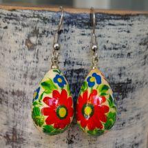 Bunte Ohrringe mit Blumenmuster- Tropfen - Ukrainischer Stil