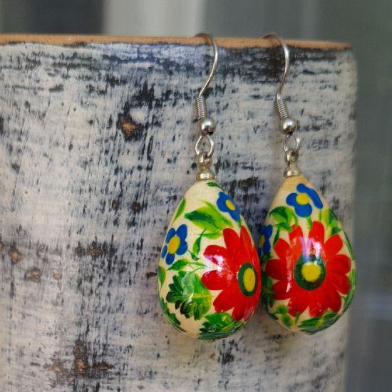 Wooden painted earrings - drops with red flowers - Ukrainian Art