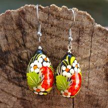 Bunte Ohrringe aus Holz, handbemalt - Ukrainische Handwerkskust
