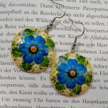 Round wooden Earrings with blue flowers, hand painted Folk fashion ukrainian style