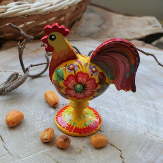Rooster decoration made of wood and hand painted