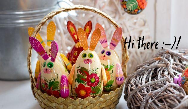 Wooden Easter bunny  hand painted - Ukrainian art