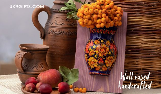 Wooden wall vase dacoration hand painted